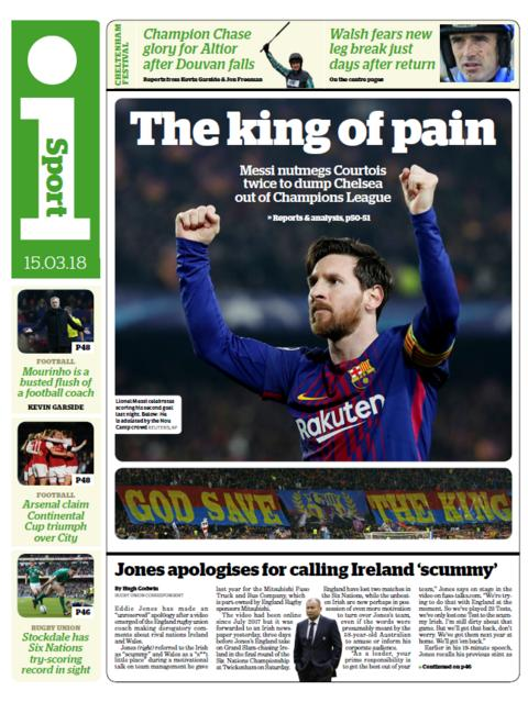 The isport back page on Thursday