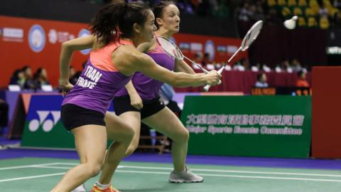 Badminton pair Emilie Lefel and Anne Tran, of France, at the Hong Kong Open