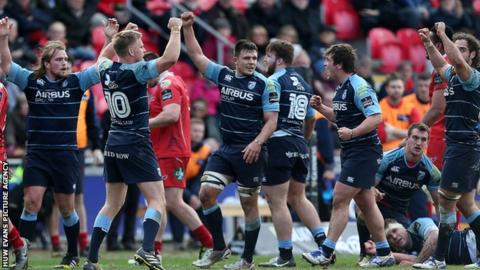 Cardiff Blues celebrate beating Scarlets