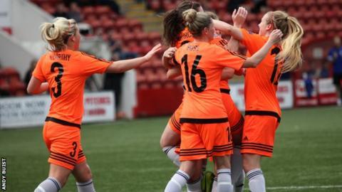 Glasgow City celebrate Lauren McMurchie's opening goal