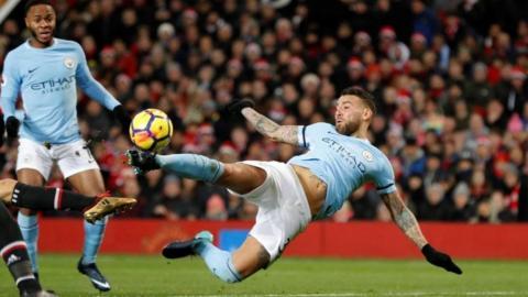 Nicolas Otamendi in action against Manchester United