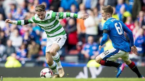 Patrick Roberts tries to get past Rangers defender Myles Beerman