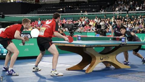 England's Tom Jarvis (left) and Paul Drinkhall in action against and Chinese Taipei's Chen Chien-An and Liao Cheng-Ting