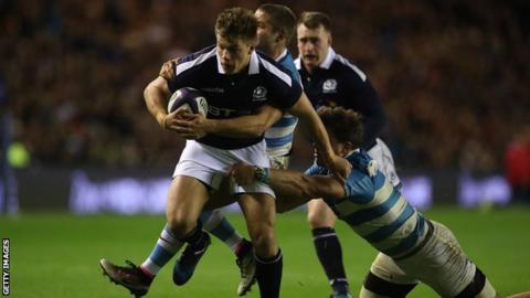 Huw Jones creates Sean Maitland's try for Scotland against Argentina
