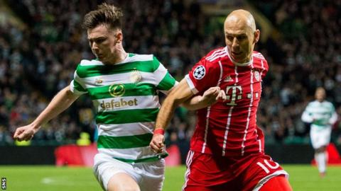 Kieran Tierney and Arjen Robben during Celtic's Champions League match at home to Bayern Munich
