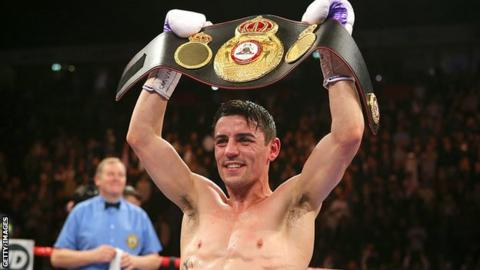 Anthony Crolla with his WBA lightweight belt in 2015