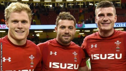 Aled Davies, Leigh Halfpenny, Scott Williams (l-r)