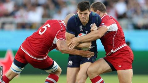 Rugby Scotland's Blair Kinghorn during the match with Russia