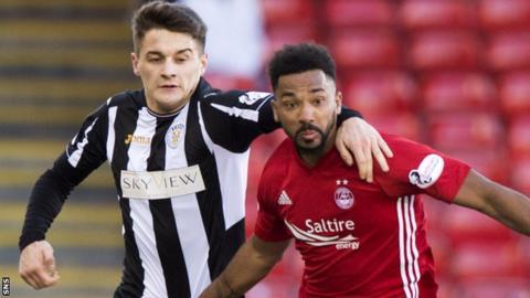Kyle Magennis of St Mirren and Aberdeen's Shay Logan