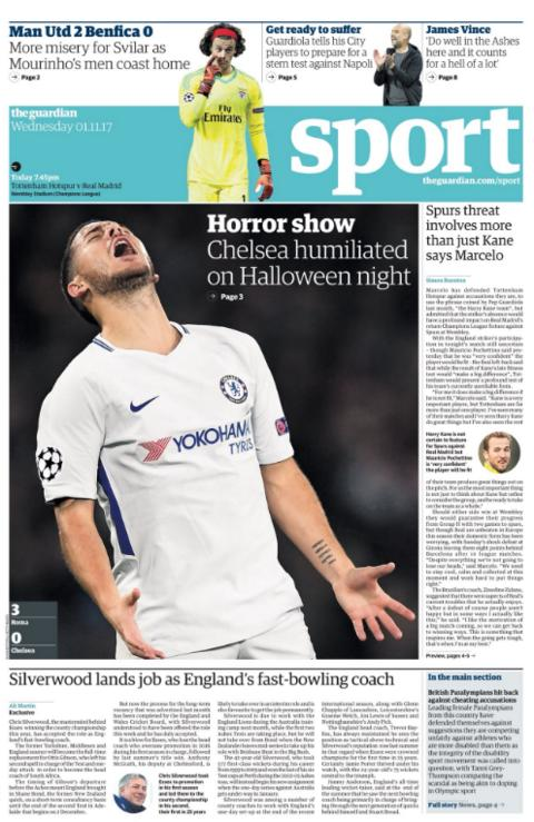 The Guardian's sport section on Wednesday