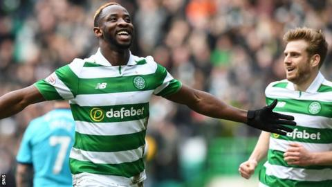 Celtic's Moussa Dembele and Stuart Armstrong celebrate