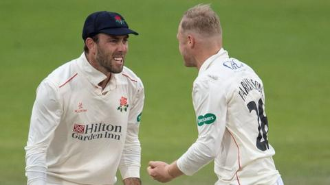 Spinners Glenn Maxwell and Matt Parkinson shared six of Lancashire's wickets as Derbyshire were bowled out for just 129