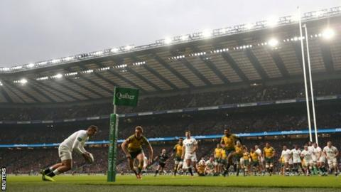 Jonny May scores first try in the win over Australia on Saturday