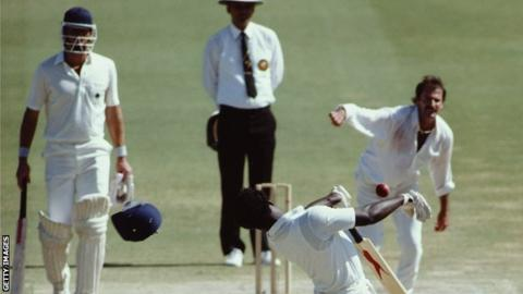 The Waca has always been a fearsome place for an England batsman. Here, Norman Cowans has hit helmet removed from his head by a Dennis Lillee bouncer