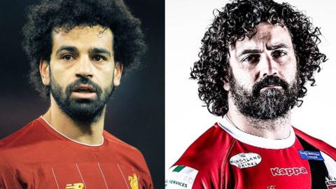 A split image of Liverpool forward Mohamed Salah and Rhys Williams