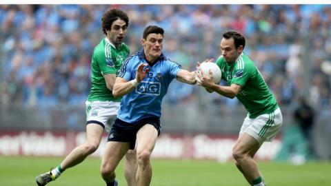 Dublin's Diarmuid Connolly attempts to dispossess Fermanagh pair Marty O'Brien and Ruairi Corrigan during the All-Ireland quarter-final