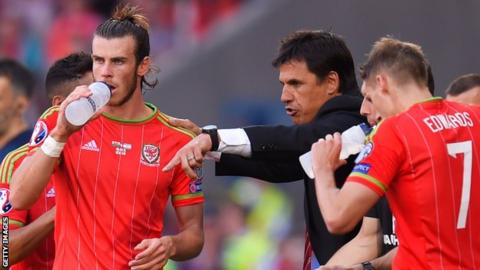 Wales manager Chris Coleman gives instructions to Gareth Bale (L) and Dave Edwards