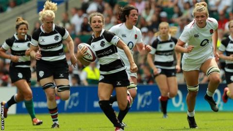 Jasmine Joyce makes a break for Barbarians against England