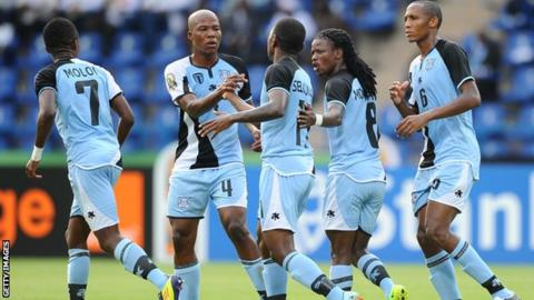 Botswana players celebrate a goal at the 2012 Africa Cup of Nations