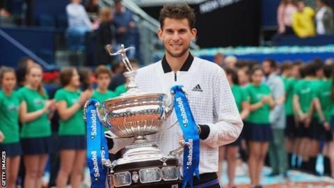 Austria's Dominic Thiem holds up the 2019 Barcelona Open trophy