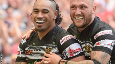 Mahe Fonua of Hull FC celebrates with Josh Griffin