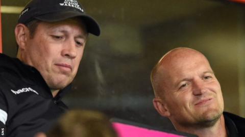 Matt Taylor (left) and Gregor Townsend watch Glasgow's A team match against Canada