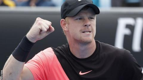 Kyle Edmund celebrates beating Kevin Anderson at the Australian Open
