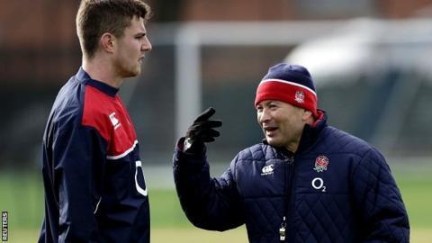 England head coach Eddie Jones and Ollie Devoto