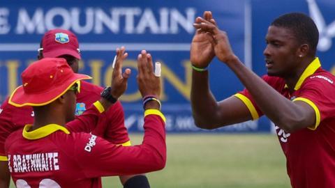 West Indies celebrate wicket