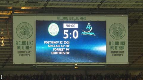Scoreboard at Celtic Park