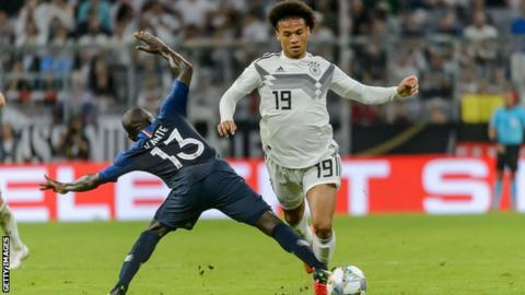 7748f538caec42 Leroy Sane appeared as an 83rd-minute substitute for Germany against France  on Thursday