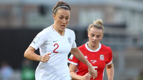 England defender Lucy Bronze playing against Wales in a World Cup qualifier