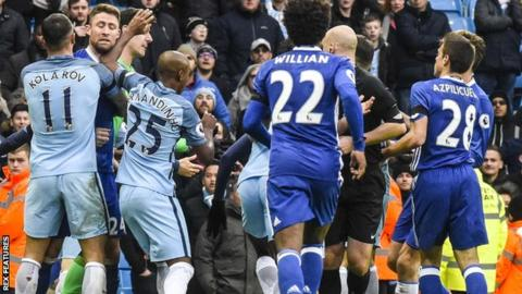 Man City and Chelsea players clash