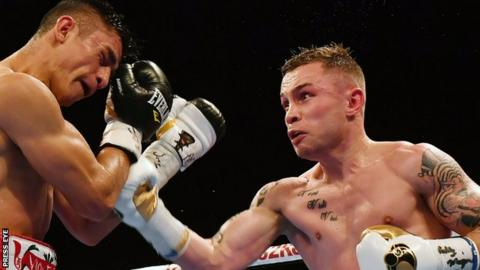Horacio Garcia on the defensive as Carl Frampton throws a punch in SSE Arena contest in November