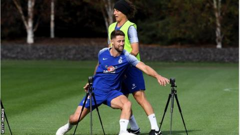 Gary Cahill and David Luiz in action during Chelsea training