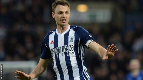 Jonny Evans in action for West Bromwich Albion