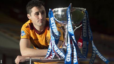 Motherwell captain Carl McHugh with the Scottish League Cup