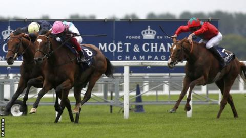 Runner-up Crystal Ocean and winner Enable slug it out as Derby victor Anthony Van Dyck fades
