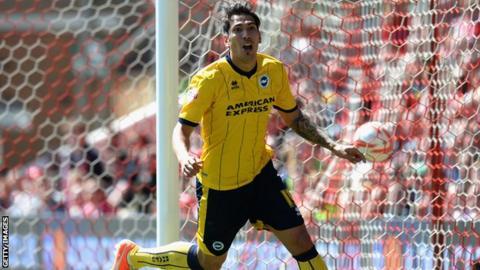 Leonardo Ulloa celebrates scoring for Brighton