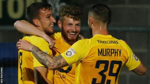 Torquay United celebrate against Maidenhead
