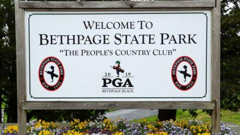 Welcoming sign at Bethpage Black