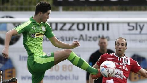 Jay Donnelly in action during Cliftonville's 1-1 draw in Luxembourg