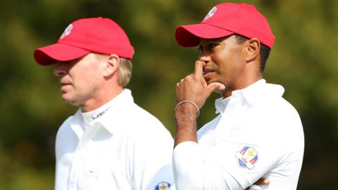Steve Stricker and Tiger Woods