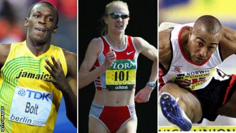 (Left to right) Usain Bolt, Paula Radcliffe, Colin Jackson