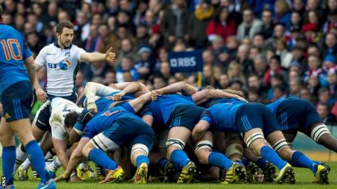 A scrum during Scotland's defeat of France in the 2016 Six Nations