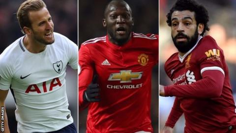 Harry Kane, Romelu Lukaku and Mohamed Salah