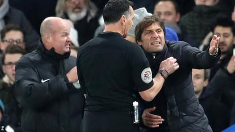 Chelsea manager Antonio Conte is sent to the stands