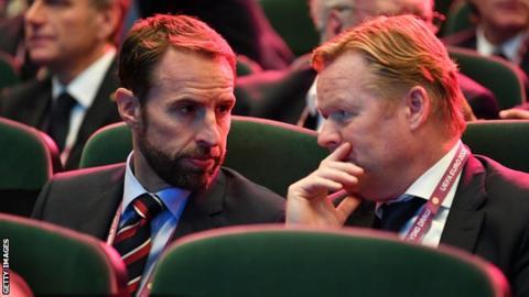 Gareth Southgate sat next to Netherlands coach Ronald Koeman