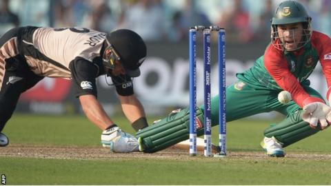 Bangladesh's Mushfiqur Rahim attempts to run out New Zealand's Ross Taylor when the sides met at this year's World T20