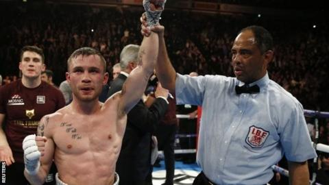 Carl Frampton is announced as the winner against Scott Quigg